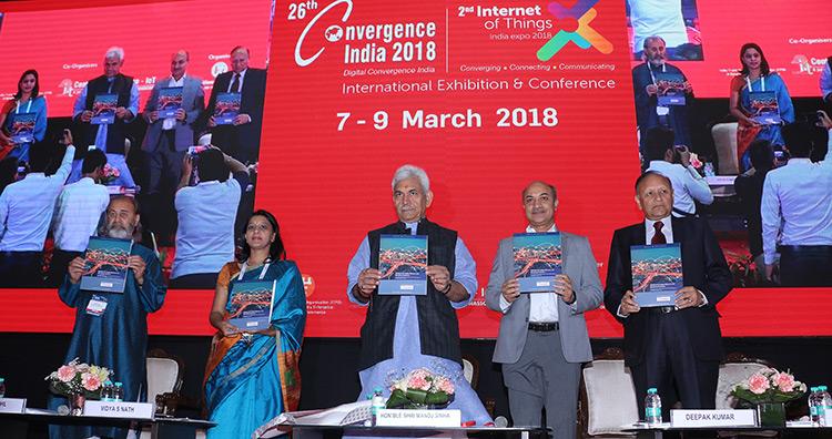 Union Telecom Minister Manoj Sinha inaugurates 26th Convergence India 2018 expo/2nd Internet of Things India 2018 expo